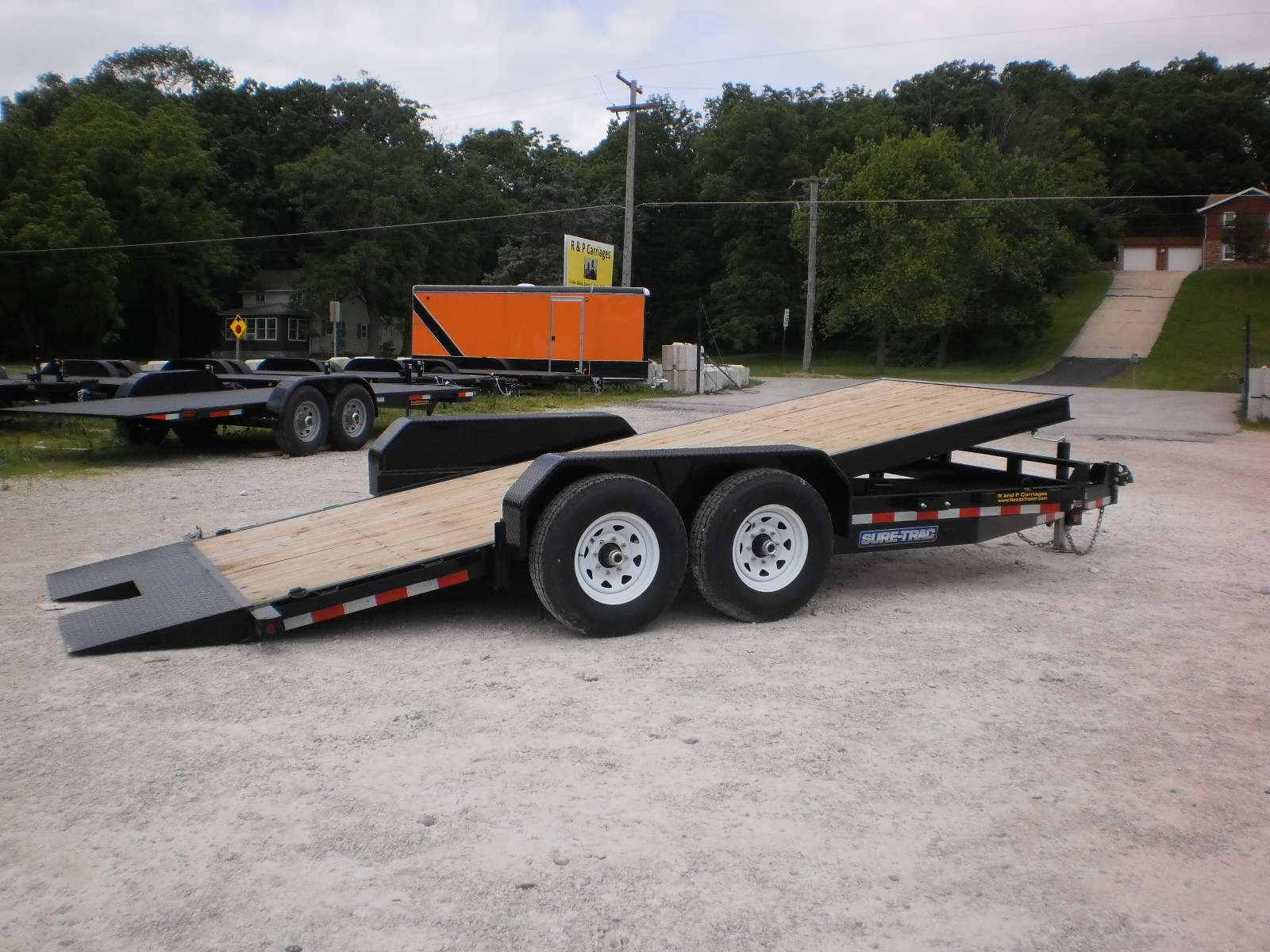 Sure trac manual tilt bed equipment trailer 2015 718 wood deck tilt bed baanklon Images